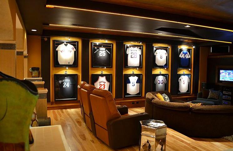 Man Cave Wall Sports Jerseys Display