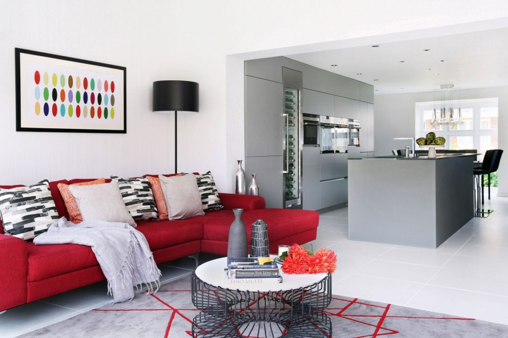 Caliente Red Accents Living Room 2018