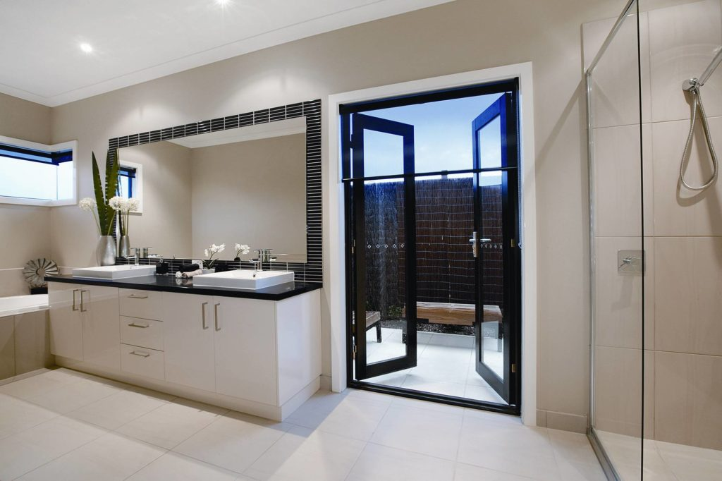Modern French Doors Bathroom