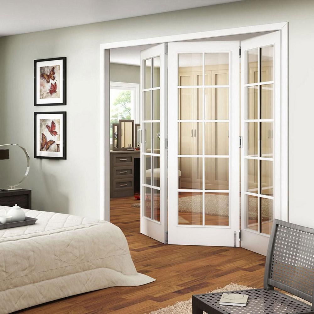 modern french doors interior with wooden floor
