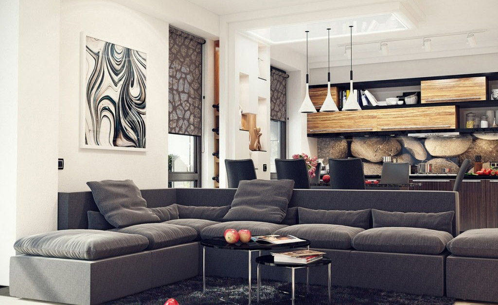 Sectional sofa open concept room
