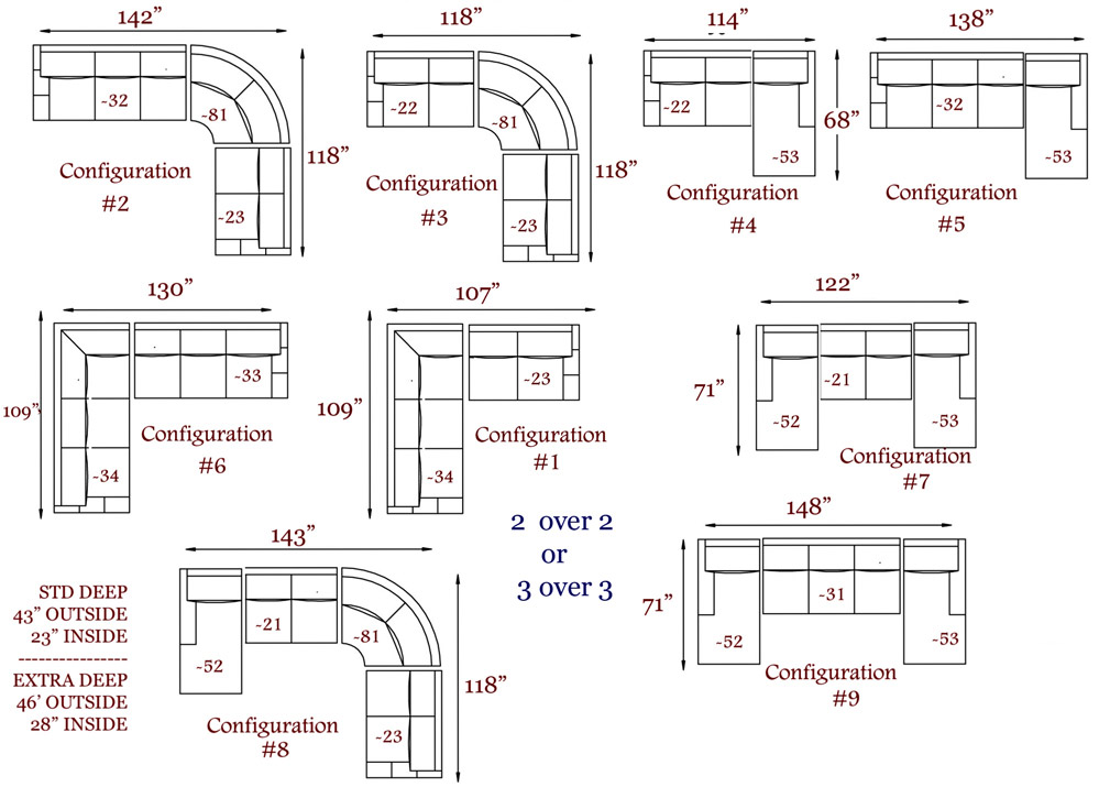 Sectional Sofa Sizing Configurations