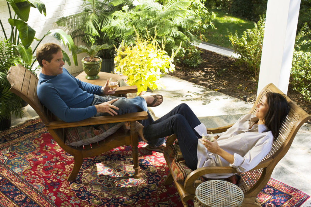 Couple on Patio Furniture Outdoors