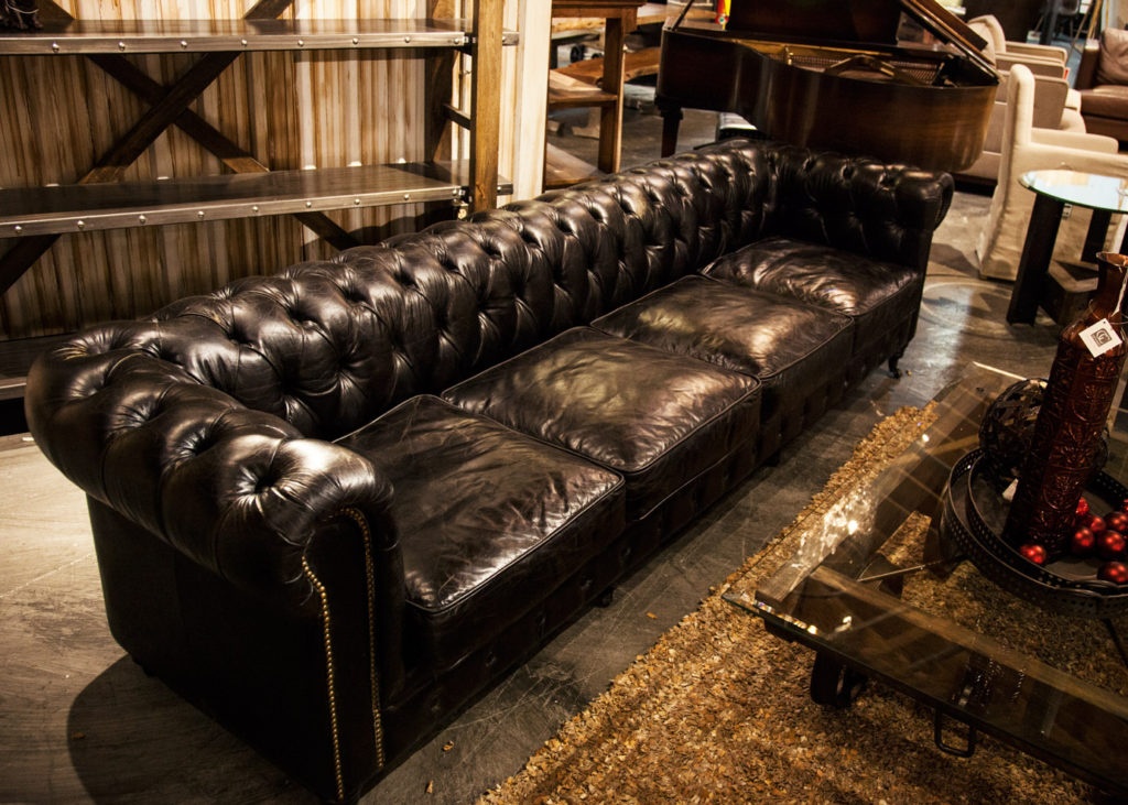 CDI Furniture Black 10 foot leather couch
